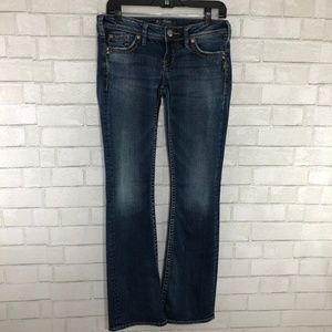 Silver Pioneer Medium Wash Bootcut Jeans, Size 28
